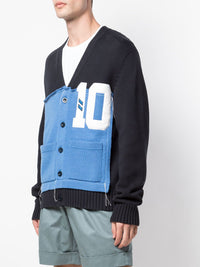 MAISON MARGIELA MENS BLACK BLUE PATCHWORK CARDIGAN