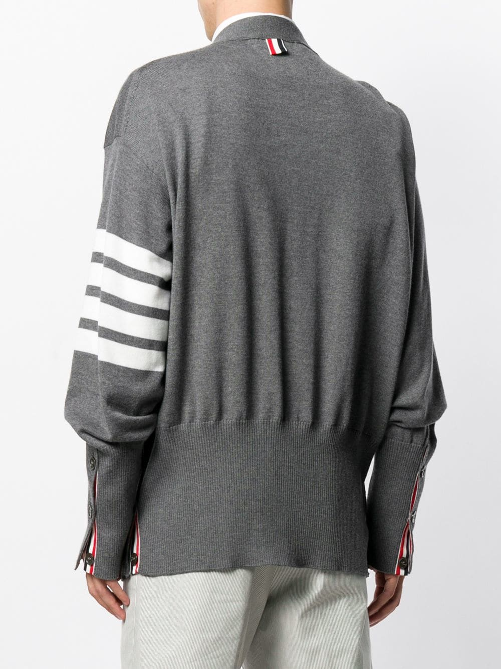 THOM BROWNE MEN OVERSIZED CLASSIC V NECK CARDIGAN IN FINE MERINO WOOL WITH 4 BAR STRIPE
