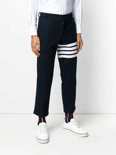 THOM BROWNE MEN CHINO TROUSERS IN DOUBLE FACE TECH PIQUE WITH 4 BAR STRIPE