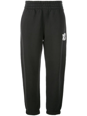 ALEXANDER WANG WOMEN WASH & GO DENSE FLEECE PANTS W/ PUFFPAINT PRINT DET