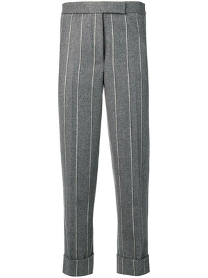 THOM BROWNE WOMEN CLASSIC BACKSTRAP TROUSER IN SHADOW STRIPE WOOL FLANNEL