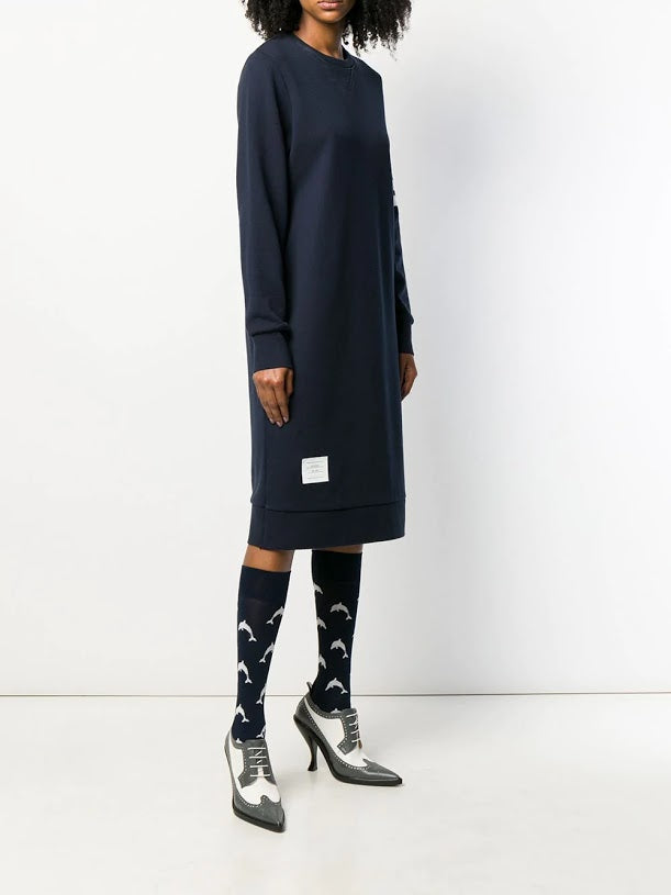 THOM BROWNE WOMEN BELOW KNEE SWEATER DRESS IN CLASSIC LOOP BACK WITH ENGINEERED 4 BAR