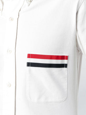 THOM BROWNE MEN GROSGRAIN POCKET CLASSIC FIT POINT COLLAR BUTTON DOWN LONG SLEEVE SHIRT IN OXFORD