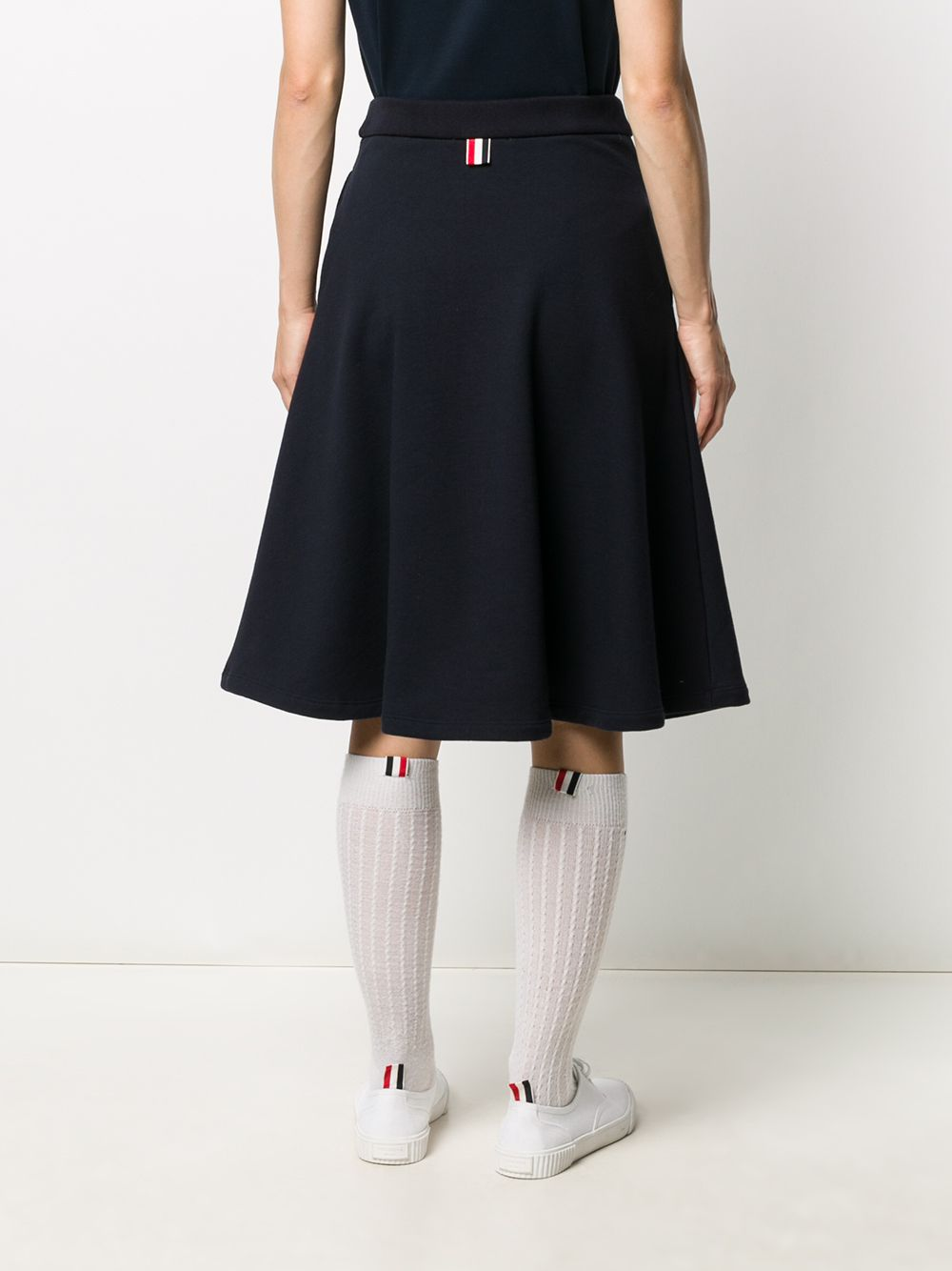 THOM BROWNE WOMEN FLARED SKIRT W/ PRINTED RWB DIAGONAL STRIPE IN CLASSIC LOOPBACK