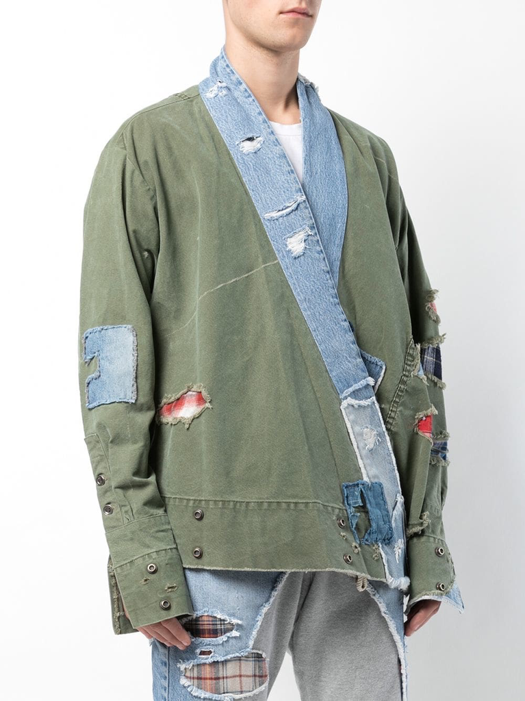 GREG LAUREN MEN ARMY TENT / VINTAGE DENIM STRIPE KIMONO STUDIO