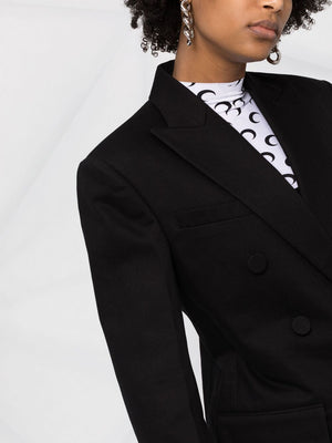 ALEXANDER WANG DOUBLE BREASTED DENIM BLAZER WITH FRAYED HEM