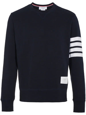 THOM BROWNE MEN CLASSIC SWEATSHIRT WITH ENGINEERED 4 BAR IN CLASSIC LOOP BACK