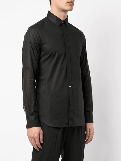 ANN DEMEULEMEESTER MEN TEXTURED SLEEVES SHIRT