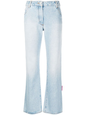 OFF-WHITE WOMEN DENIM CROPPED FLARE LIGHT BLUE NO COLOR
