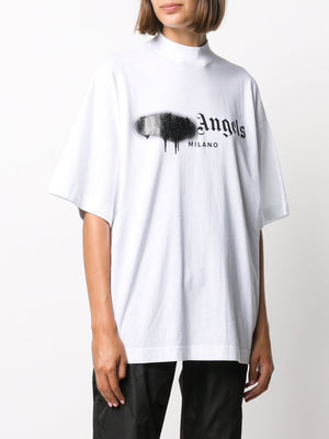 PALM ANGELS WOMEN MILANO SPRAYED LOGO OVER TEE