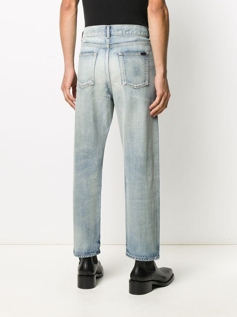 SAINT LAURENT MEN HIGH WAIST STRAIGHT LEG JEANS