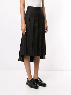 THOM BROWNE WOMEN ANKLE LENGTH LOW RISE DROPPED BACK PLEATED SKIRT IN SUPER 120'S TWILL