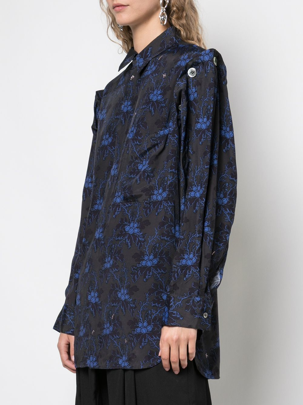 Y'S WOMEN FLOWER CALICO DETACHABLE SLEEVE SHIRT