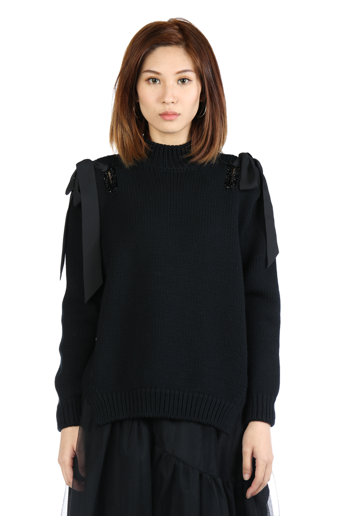 SIMONE ROCHA WOMEN TINSEL HOLD BOW SWEATER