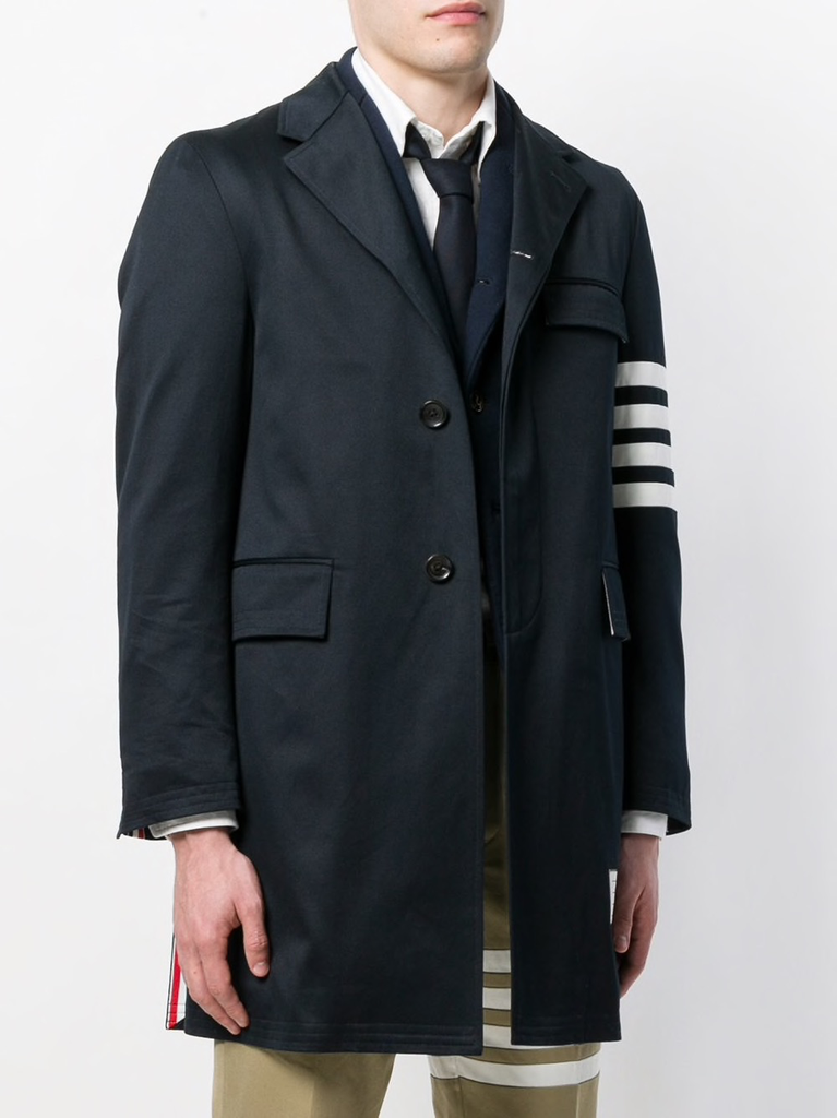 THOM BROWNE MEN UNCONSTRUCTED CLASSIC CHESTERFIELD OVERCOAT (35-) W/ SEAMED IN 4 BAR STRIPE IN COTTON TWILL