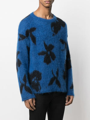 SAINT LAURENT MEN NINETY'S ORCHID JACQUARD SWEATER