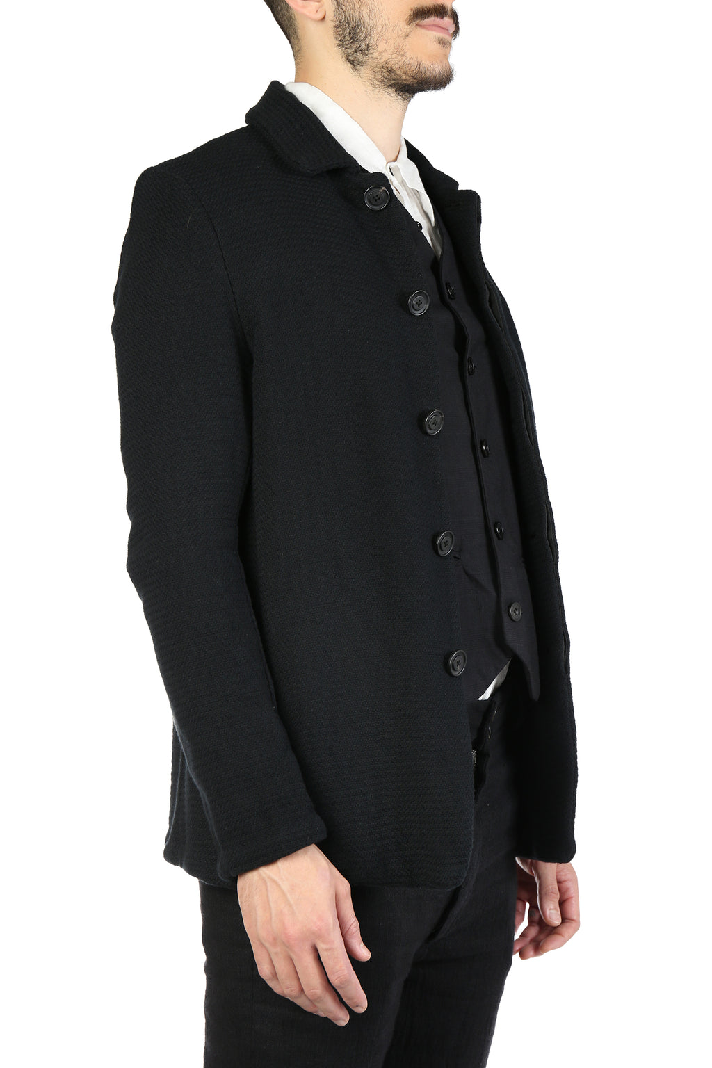 GEOFFREY B SMALL MEN HANDMADE FLY-FRONT EXTENDED LENGTH TAILORED BLUSON JACKET