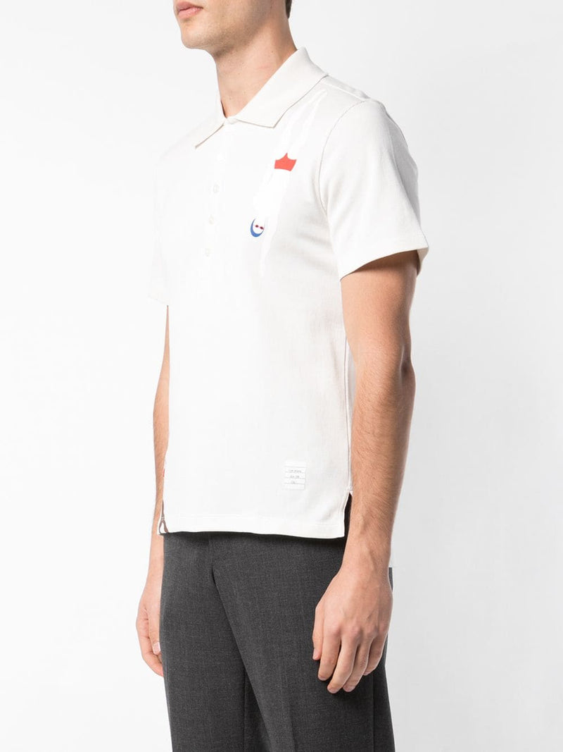 THOM BROWNE MEN SS POLO IN SOLID JERSEY WITH PRINTED SWIMMERS