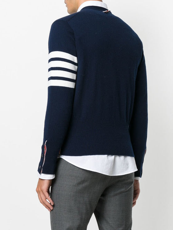 THOM BROWNE MEN CLASSIC V NECK CARDIGAN W/ WHITE 4 BAR STRIPE IN CASHMERE