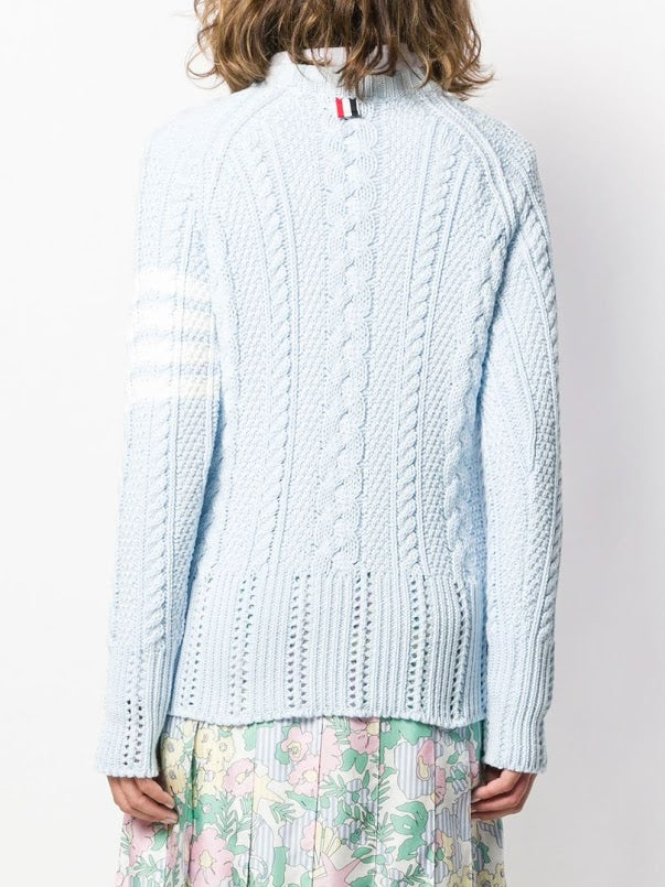 THOM BROWNE WOMEN ARAN CABLE CLASSIC RAGLAN SLEEVE PULLOVER IN COTTON CREPE W/ 4 BAR