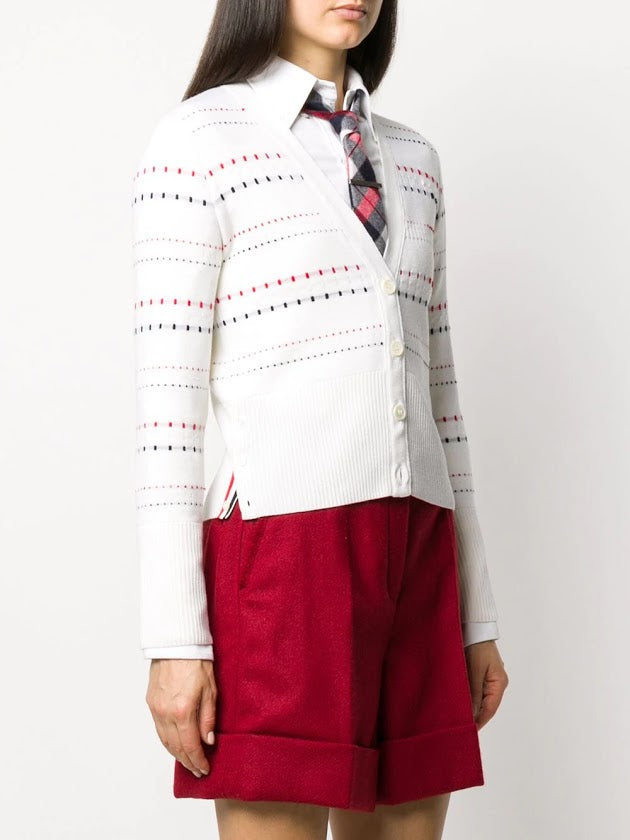 THOM BROWNE WOMEN RWB INLAY MILANO STITCH V NECK CARDIGAN IN FINE MERINO WOOL
