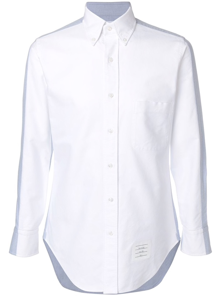 THOM BROWNE MEN BICOLOR CLASSIC LONG SLEEVE SHIRT IN OXFORD