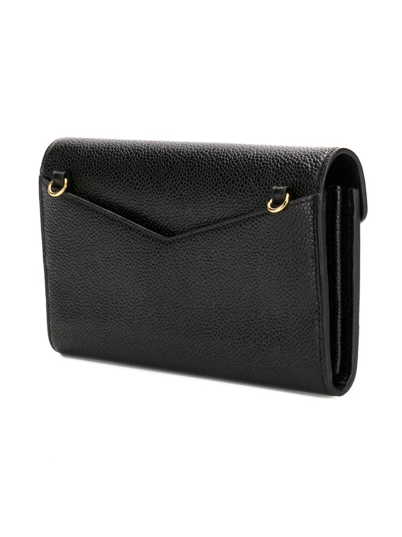 THOM BROWNE WOMEN EVNELOPE LONG WALLET WITH SHORT CHAIN IN PEBBLE GRAIN