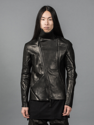 LEON EMANUEL BLANCK DISTORTION LEATHER JACKET SHORT VERSION HIGH COLLAR