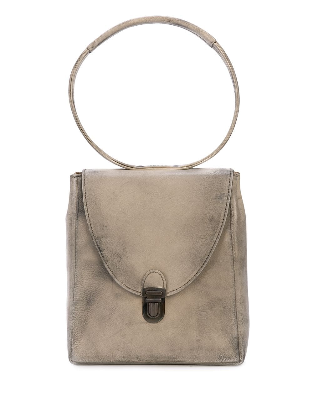 CHEREVICHKIOTVICHKI MINI RECTANGULAR LOCK BAG IN BLEACHED CALF