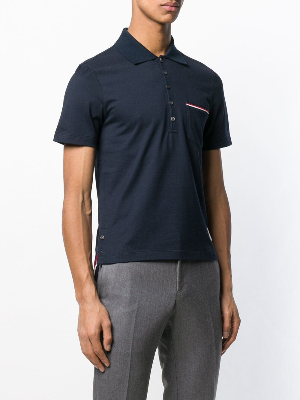 THOM BROWNE MEN SS POCKET POLO IN MEDIUM WEIGHT JERSEY COTTON W/ RWB TIPPING STRIPE