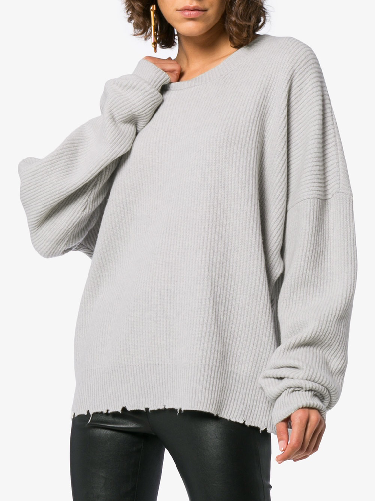 UNRAVEL WOMEN RIB OVERSIZE CHOPPED CREW