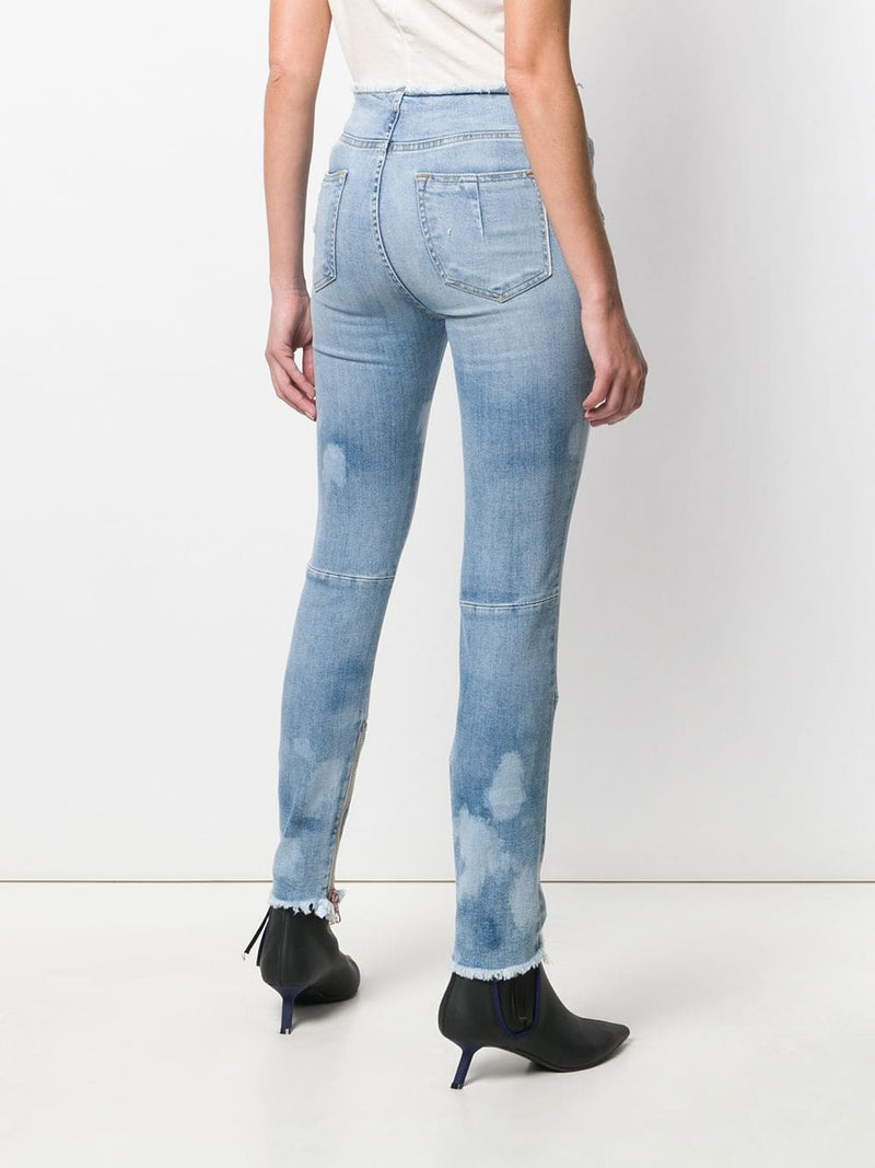 UNRAVEL PROJECT WOMEN STONE 25 SKINNY RAW LACE UP DENIM