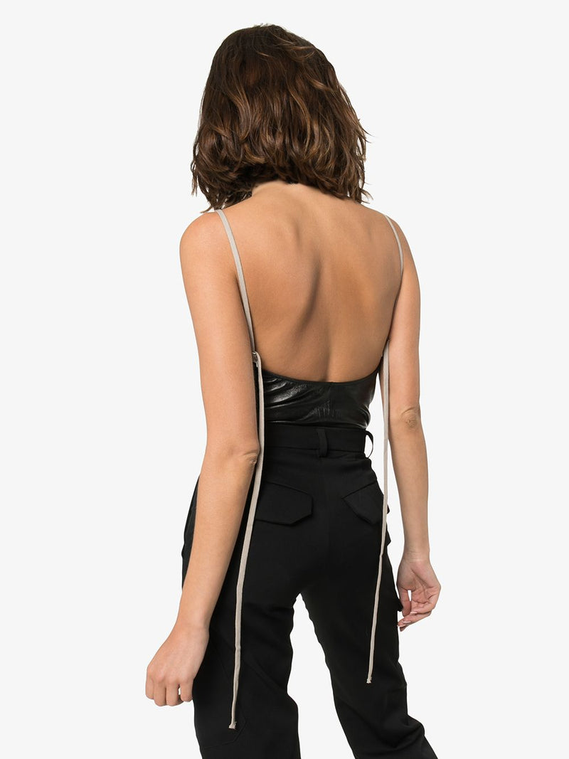 RICK OWENS WOMEN LEATHER BODY SALLY TOP