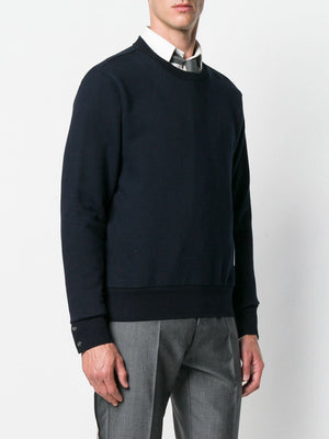 THOM BROWNE MEN CREWNECK PULLOVER W/ CB RWB STRIPE IN CLASSIC LOOPBACK