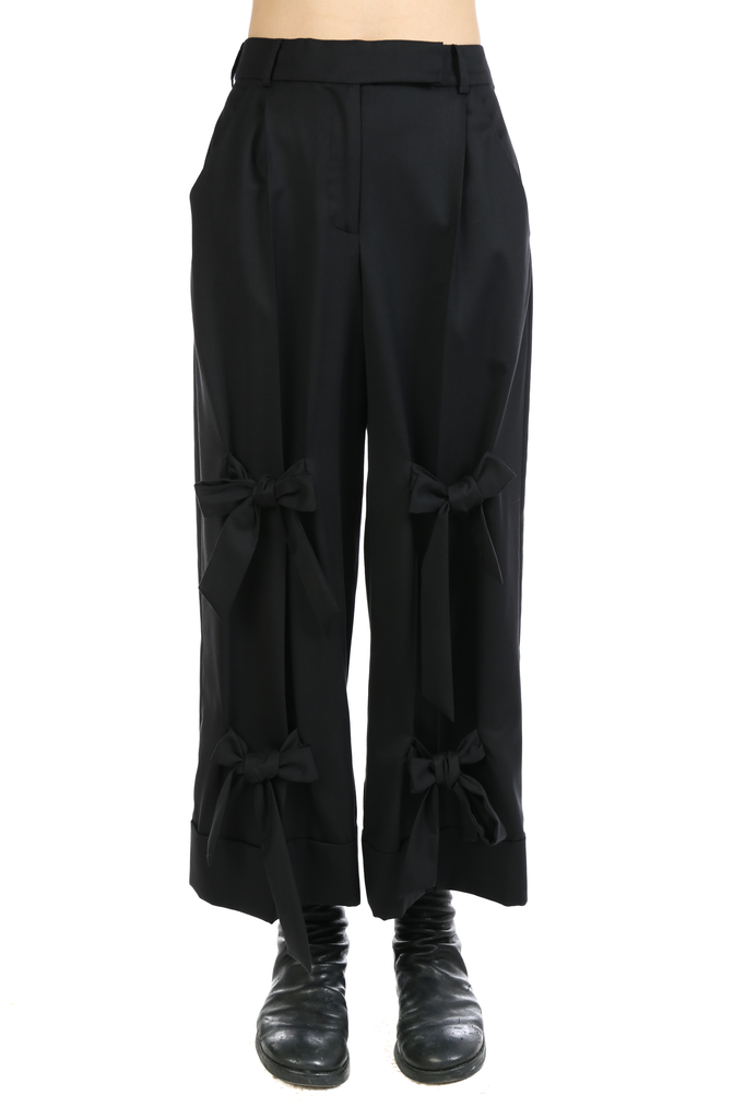 SIMONE ROCHA WOMEN WIDE LEG TROUSER WITH MULTI BOWS