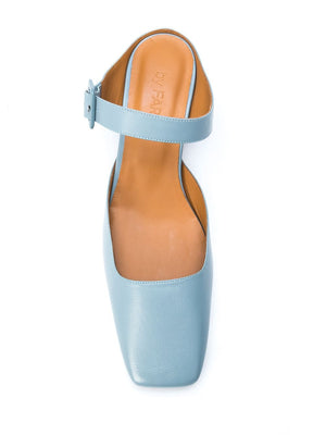 BY FAR WOMEN MIRA BLUE LEATHER SANDAL