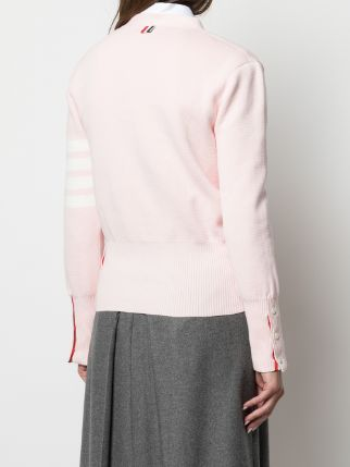 THOM BROWNE WOMEN MILANNO STITCH CLASSIC V NECK CARDIGAN IN COTTON CREPE W/ 4 BAR