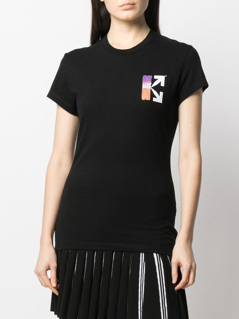 OFF-WHITE WOMEN GRADIENT CARRYOVER FITTED TEE BLACK MULTICOLOR