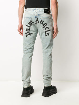 PALM ANGELS MEN BACK LOGO 5 POCKETS JEAN
