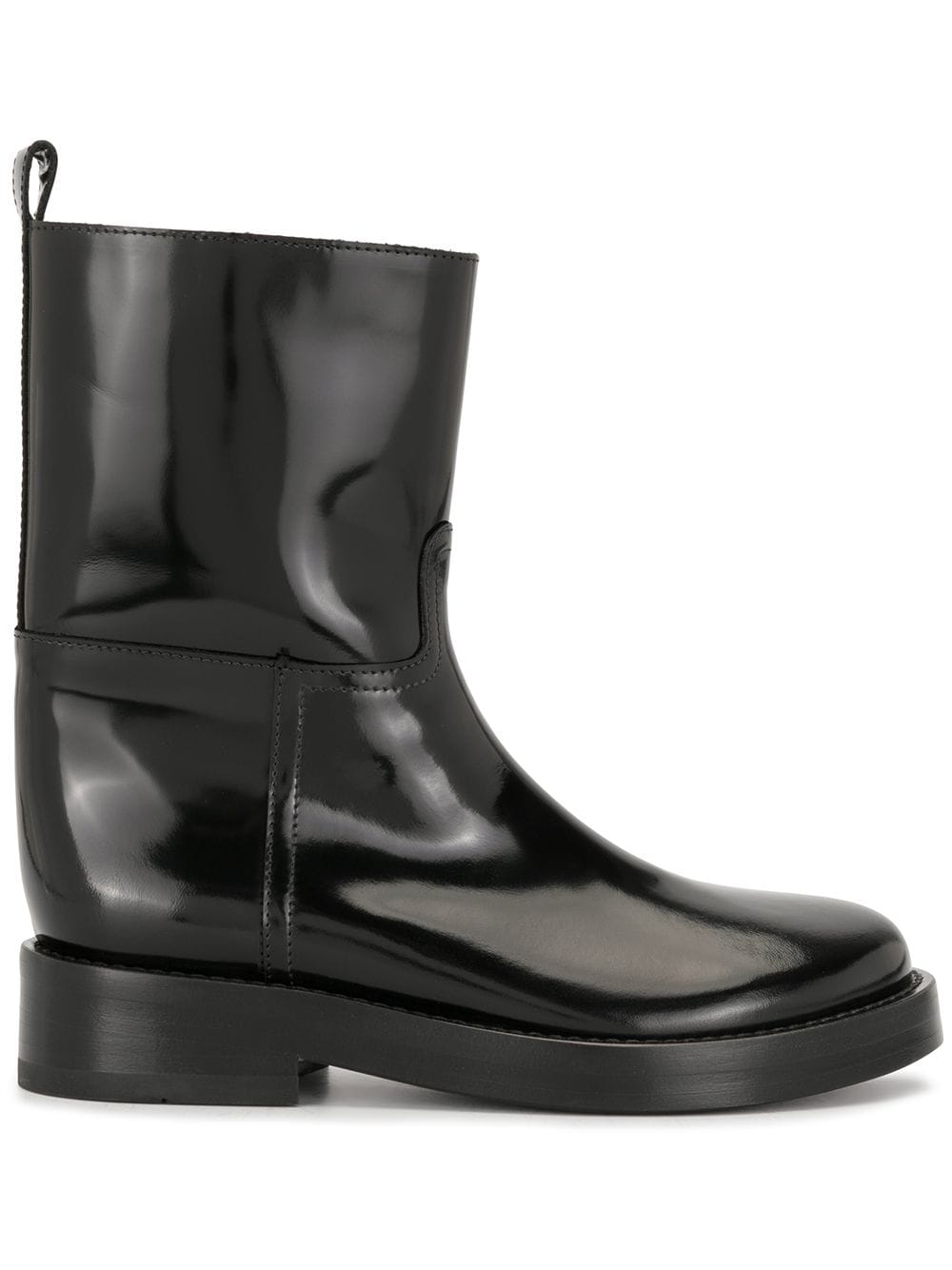 ANN DEMEULEMEESTER WOMEN CALF RIDING BOOTS PATENT LEATHER
