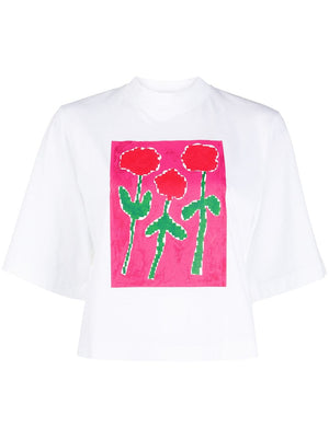 PALM ANGELS WOMEN RED ROSE TEE
