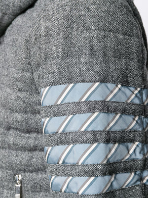 THOM BROWNE MEN 4 BAR STRIPE DOWNFILL QUILTED HOODED JACKET IN SOLID DONEGAL TWEED