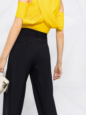 MM6 WOMEN STRIPED TUCK PANTS