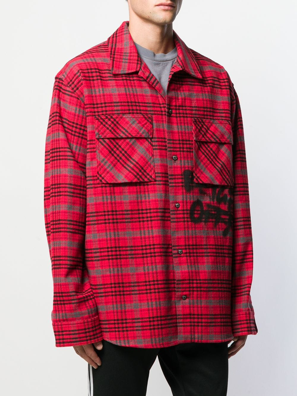 OFF WHITE MEN FLANNEL CHECK SHIRT
