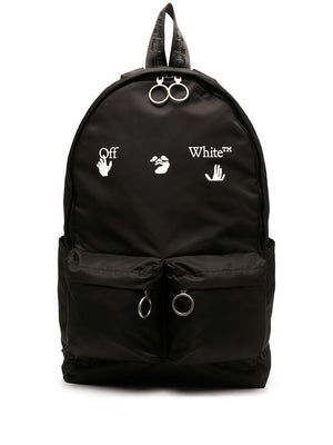OFF-WHITE MEN OW LOGO BACKPACK BLACK WHITE