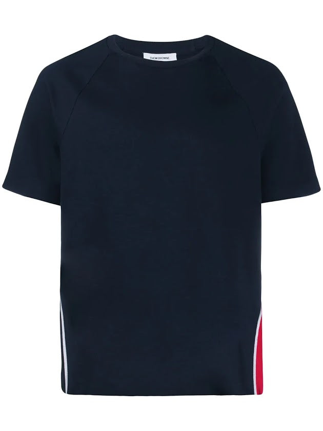 THOM BROWNE MEN SHORT SLEEVE TEE W/ RWB STRIPE IN INTERLOCK