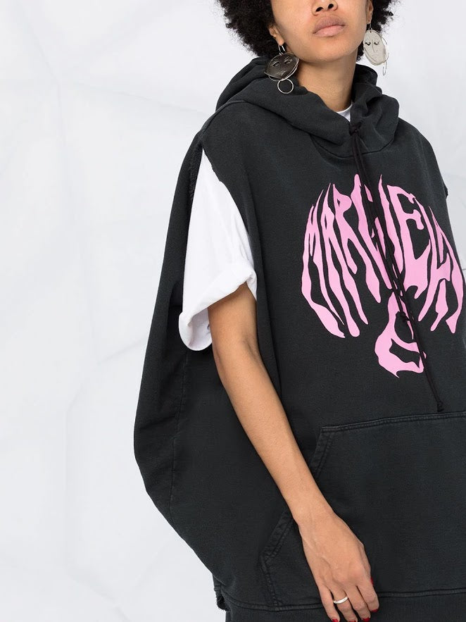 MM6 WOMEN OVERSIZE ZEBRA LOGO PRINT SLEEVELESS  HOODIE