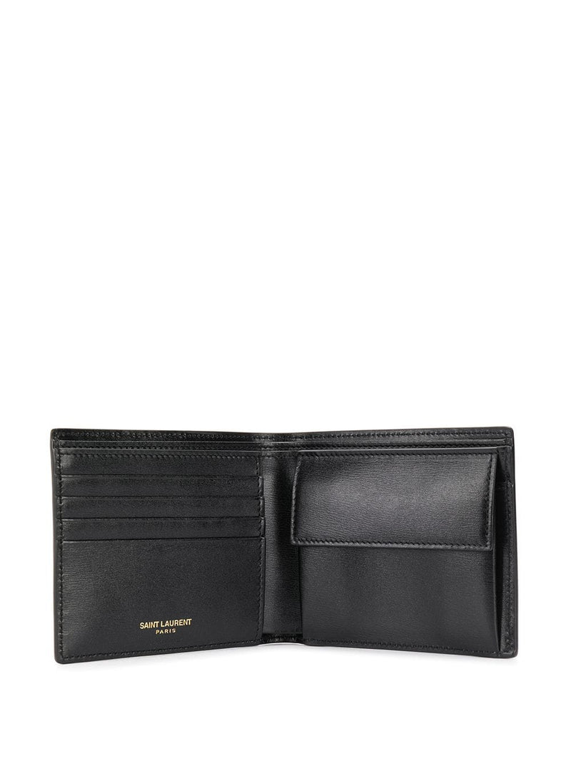 SAINT LAURENT MEN LOGO BI-FOLD WALLET WITH COIN POUCH