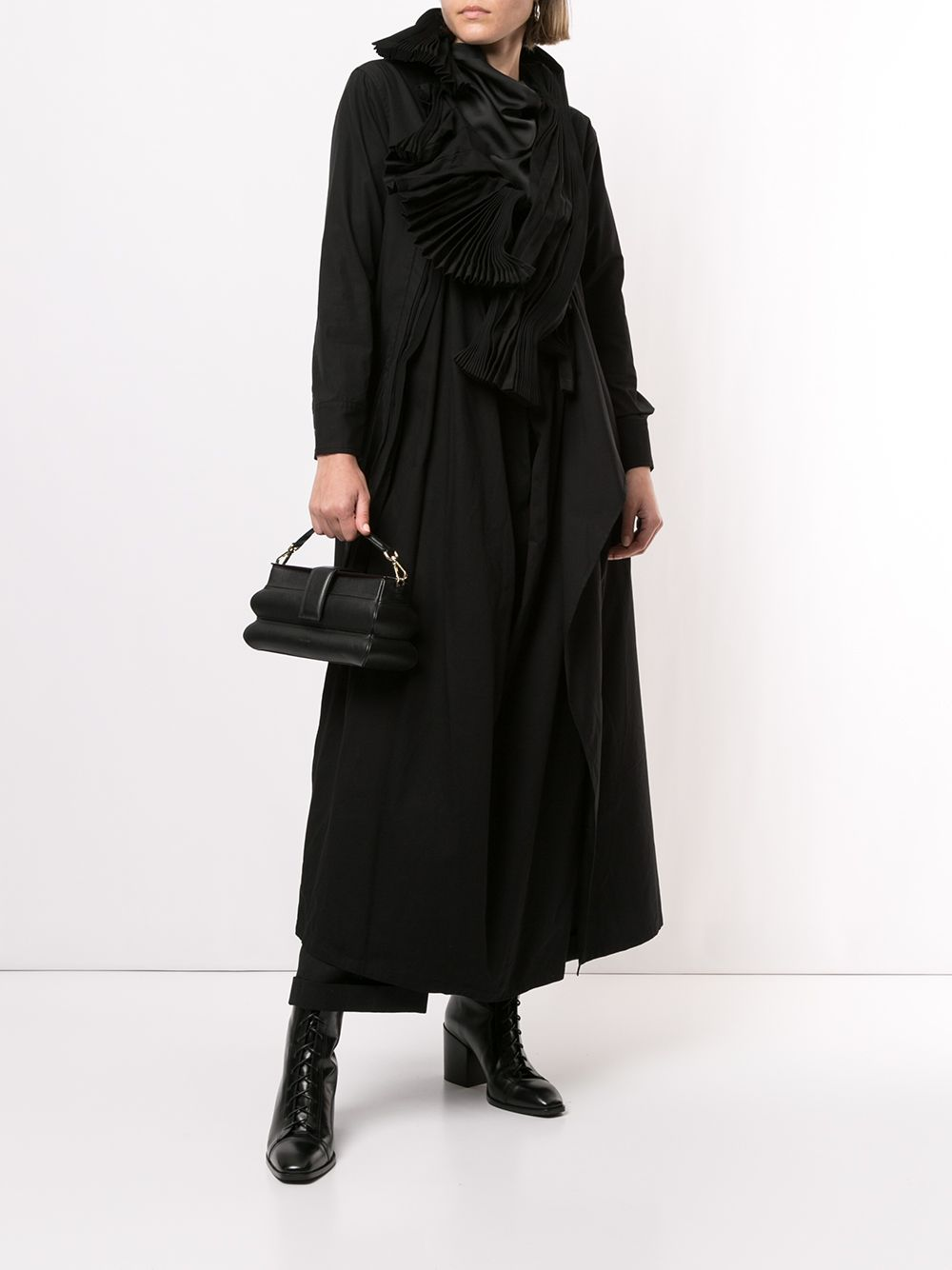 YOHJI YAMAMOTO WOMEN PLEATS SHIRT DRESS