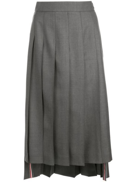 THOM BROWNE WOMEN BELOW KNEE DROPPED BACK SKIRT IN SUPER 120'S TWILL